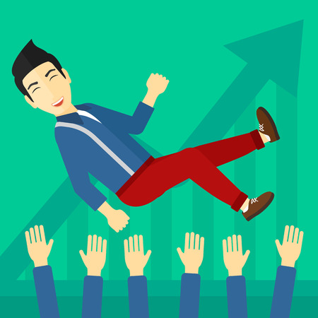 arms lifted up: An asian businessman get thrown into the air by coworkers during celebration on a green background with increasing chart vector flat design illustration. Square layout.