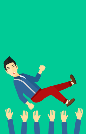 arms lifted up: An asian businessman get thrown into the air by coworkers during celebration on a green background vector flat design illustration. Vertical layout.