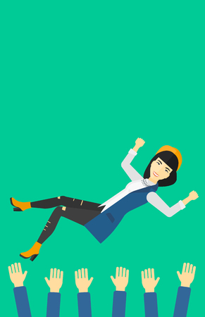 coworkers: An asian business woman get thrown into the air by coworkers during celebration on a green background vector flat design illustration. Vertical layout. Illustration