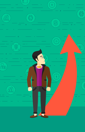 going green: An asian businessman looking at a red arrow going up on a green background with business icons vector flat design illustration. Vertical layout.