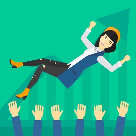 An asian business woman get thrown into the air by coworkers during celebration on a green background with increasing chart vector flat design illustration. Square layout. Ilustração