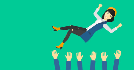 hands lifted up: An asian business woman get thrown into the air by coworkers during celebration on a green background vector flat design illustration. Horizontal layout.