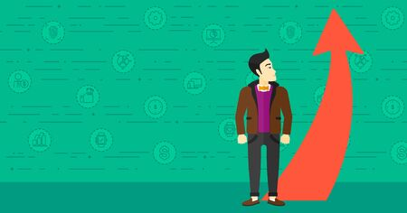 asian manager: An asian businessman looking at a red arrow going up on a green background with business icons vector flat design illustration. Horizontal layout.