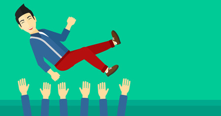 coworkers: An asian businessman get thrown into the air by coworkers during celebration on a green background vector flat design illustration. Horizontal layout. Illustration