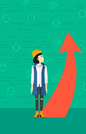 asian business: An asian business woman looking at a red arrow going up on a green background with business icons vector flat design illustration. Vertical layout.