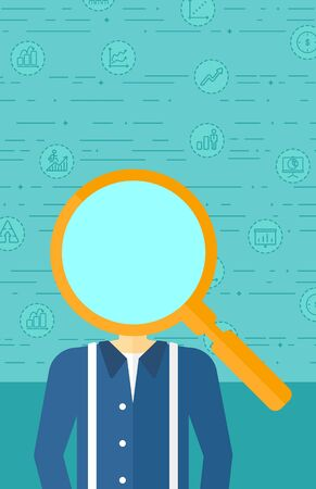 asian businessman: An asian businessman with magnifier instead of head on a blue background with business icons vector flat design illustration. Vertical layout.