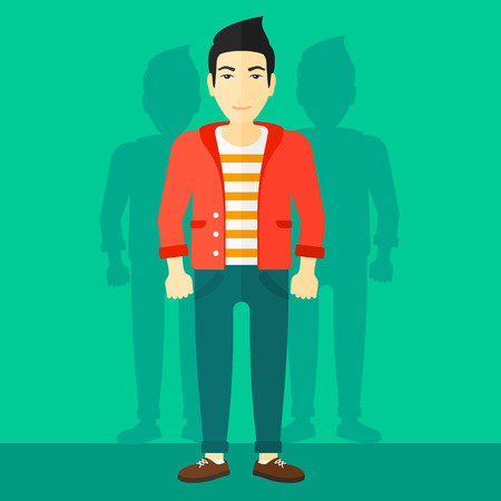 coworkers: An asian man with some shadows of his coworkers behind him on a green background vector flat design illustration. Square layout. Illustration
