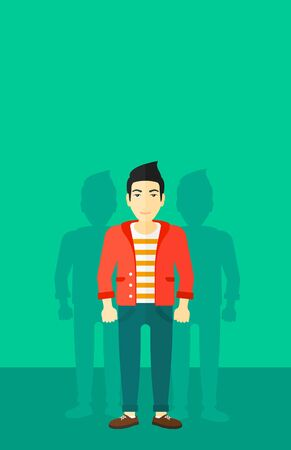 coworkers: An asian man with some shadows of his coworkers behind him on a green background vector flat design illustration. Vertical layout.