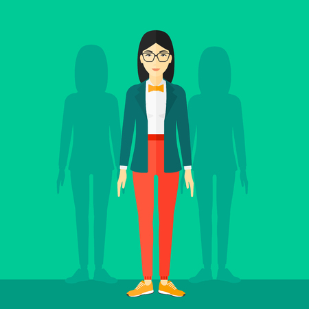 coworkers: An asian woman with some shadows of her coworkers behind her on a green background vector flat design illustration. Square layout. Illustration
