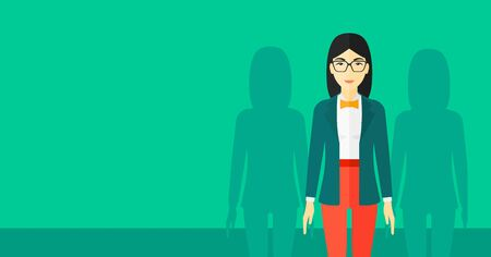 asian business: An asian woman with some shadows of her coworkers behind her on a green background vector flat design illustration. Horizontal layout. Illustration