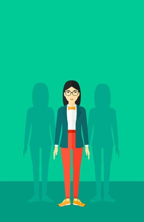 coworkers: An asian woman with some shadows of her coworkers behind her on a green background vector flat design illustration. Vertical layout.