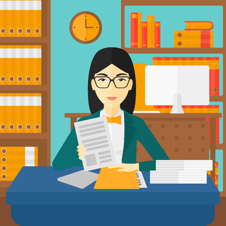 asian manager: An asian human resources manager reading application portfolios on the background of office vector flat design illustration. Square layout.