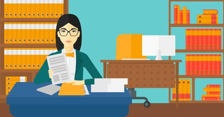 asian manager: An asian human resources manager reading application portfolios on the background of office vector flat design illustration. Horizontal layout.