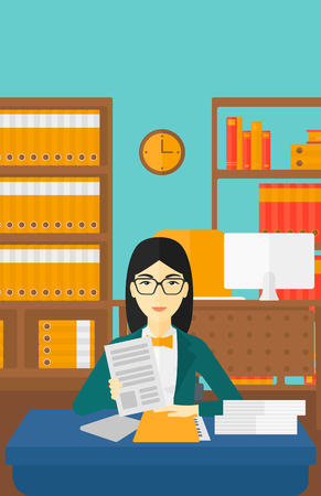 asian manager: An asian human resources manager reading application portfolios on the background of office vector flat design illustration. Vertical layout.