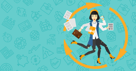 woman on phone: An asian woman with many hands holding papers, suitcase, devices on a blue background with business icons vector flat design illustration. Horizontal layout.