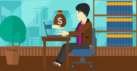 asian man laptop: An asian man sitting at the table and a bag of money coming out of his laptop on the background of panoramic modern office with city view vector flat design illustration. Horizontal layout.