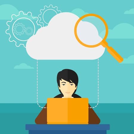 asian man laptop: An asian man working on laptop and a cloud, loupe and gears above him on the background of blue sky vector flat design illustration. Square layout.