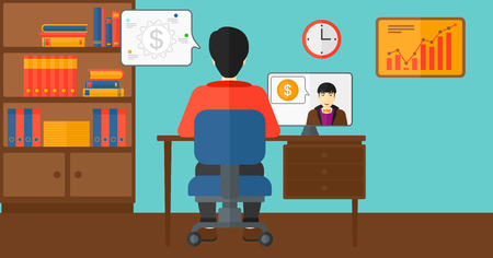negotiation: An asian man sitting in the office and talking with other man using video chat vector flat design illustration. Horizontal layout.