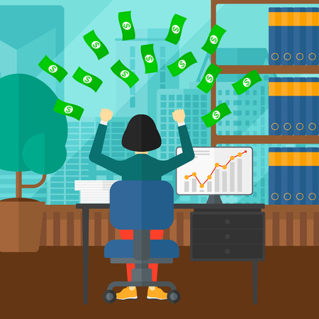 money flying: An asian woman sitting in front of computer with raised hands and money flying above her on the background of panoramic modern office with city view vector flat design illustration. Square layout.