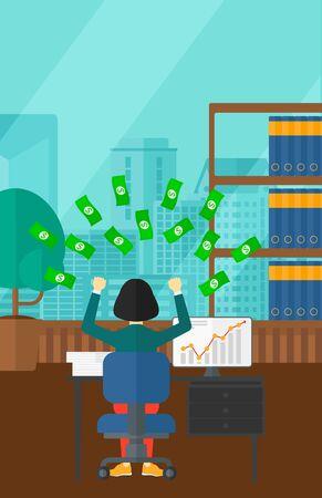 dinero volando: Una mujer asi�tica sentado frente a la computadora con las manos levantadas y dinero volando por encima de ella en el fondo de la oficina moderna panor�mica con vistas a la ciudad de vector dise�o plano. disposici�n vertical.