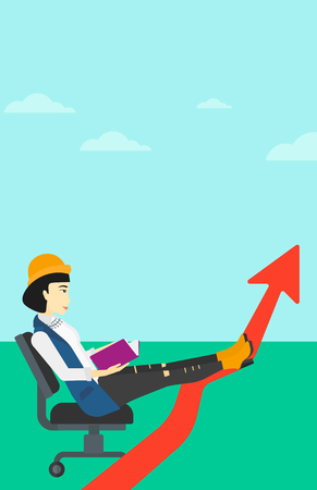 lay: An asian woman sitting in chair with a book in hands while her legs lay on an uprising arrow on the background of blue sky vector flat design illustration. Vertical layout.