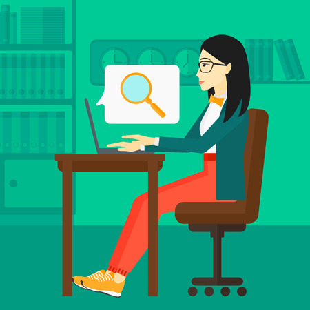 woman using laptop: An asian business woman sitting in the office and doing an internet search using a laptop on the background of office vector flat design illustration. Square layout. Illustration