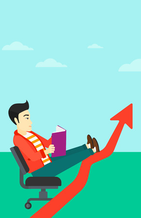 lay: An asian man sitting in chair with a book in hands while his legs lay on an uprising arrow on the background of blue sky vector flat design illustration. Vertical layout.