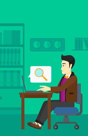 An asian businessman sitting in the office and doing an internet search using a laptop on the background of office vector flat design illustration. Vertial layout.
