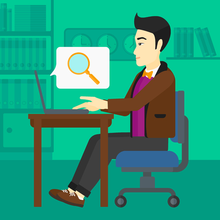 asian businessman: An asian businessman sitting in the office and doing an internet search using a laptop on the background of office vector flat design illustration. Square layout. Illustration