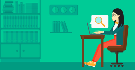 woman using laptop: An asian business woman sitting in the office and doing an internet search using a laptop on the background of office vector flat design illustration. Horizontal layout. Illustration