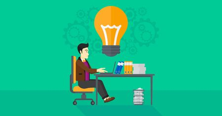 asian manager: An asian businessman working on a laptop and a big light bulb above the table on the background of office vector flat design illustration. Horizontal layout. Illustration