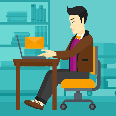 asian man laptop: An asian man sitting at the table in front of laptop with a big envelope above on the background of office vector flat design illustration. Square layout.