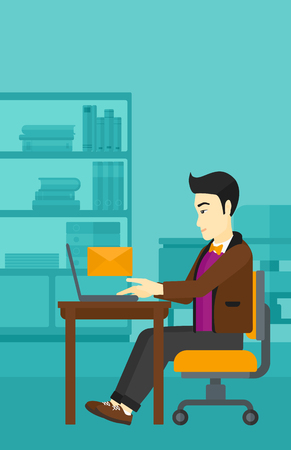 asian man laptop: An asian man sitting at the table in front of laptop with a big envelope above on the background of office vector flat design illustration. Vertical layout.