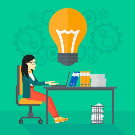 asian business: An asian business woman working on a laptop and a big light bulb above the table on the background of office vector flat design illustration. Square layout.