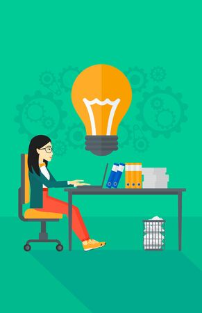 An asian  business woman working on a laptop and a big light bulb above the table on the background of office vector flat design illustration. Vertical layout.