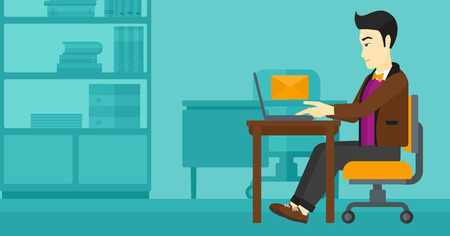 asian man laptop: An asian man sitting at the table in front of laptop with a big envelope above on the background of office vector flat design illustration. Horizontal layout.