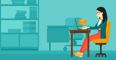 woman laptop: An asian woman sitting at the table in front of laptop with a big envelope above on the background of office vector flat design illustration. Horizontal layout. Illustration