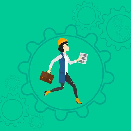 asian manager: An asian woman with a suitcase and a file in hands running inside a big cogwheel on a green background with cogwheels vector flat design illustration. Square layout. Illustration