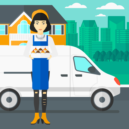 baker cartoon: An asian woman holding a box of cakes on the background of the city and delivery truck vector flat design illustration. Square layout.