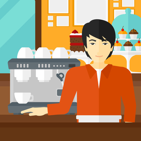 An asian man standing near coffee maker on the background of bakery vector flat design illustration. Square layout.