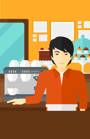 An asian man standing near coffee maker on the background of bakery vector flat design illustration. Vertical layout.