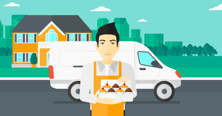 baker cartoon: An asian man holding a box of cakes on the background of the city and delivery truck vector flat design illustration. Horizontal layout.
