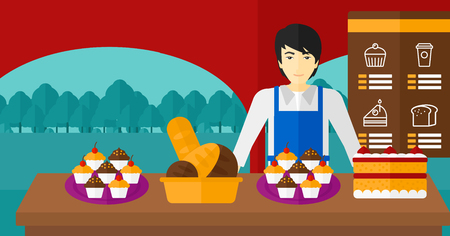 asian manager: An asian man standing in front of table with pastry on the background of bakery vector flat design illustration. Horizontal layout.