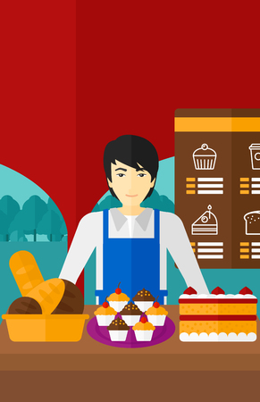 proprietor: An asian man standing in front of table with pastry on the background of bakery vector flat design illustration. Vertical layout.