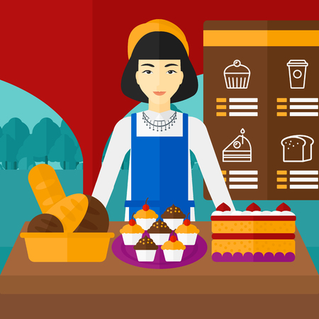 proprietor: An asian woman standing in front of table with pastry on the background of bakery vector flat design illustration. Square layout.