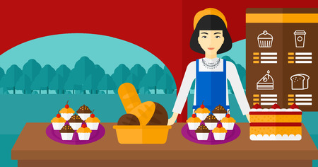 proprietor: An asian woman standing in front of table with pastry on the background of bakery vector flat design illustration. Horizontal layout. Illustration