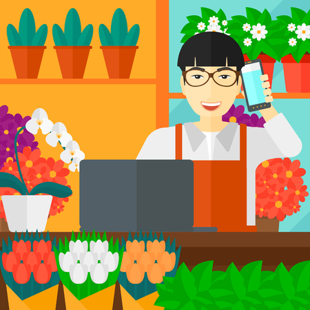 proprietor: An asian man taking an order by phone on the background of flower shop vector flat design illustration. Square layout. Illustration
