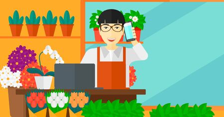 proprietor: An asian man taking an order by phone on the background of flower shop vector flat design illustration. Horizontal layout.