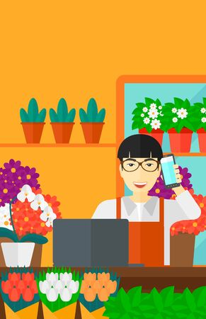 proprietor: An asian man taking an order by phone on the background of flower shop vector flat design illustration. Vertical layout.