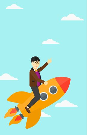 forefinger: An asian man flying on the rocket with a forefinger pointing up on the background of blue sky vector flat design illustration. Vertical layout.